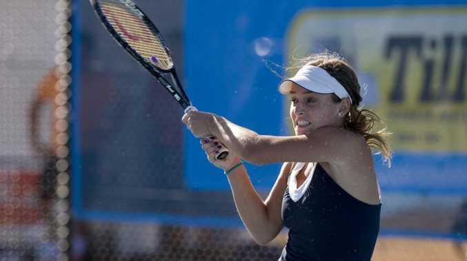 Zuzana Zlochova in action during yesterday's Toowoomba International at USQ Regional Tennis Centre.