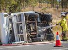 A campervan rolled over on the Bruce Highway outside Raglan on September 13.