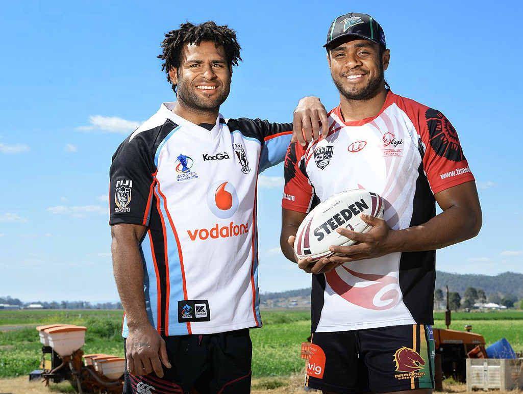 HARD WORK PAYS OFF: Fijian rugby league representatives Kali Nauqe and Nemani Valekapa have been working as labourers in Kalbar.