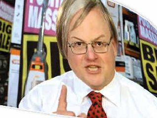 LOOK AGAIN: Matthew Hardy, owner of Lismore's Godfreys store and Kevin Rudd impersonator, and, inset, Matthew in a TV commercial for the vacuum cleaner franchise.