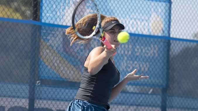 Pamela Boyanov hits a forehand during her quarter-final loss to Zuzana Zlochova at USQ Regional Tennis Centre today.
