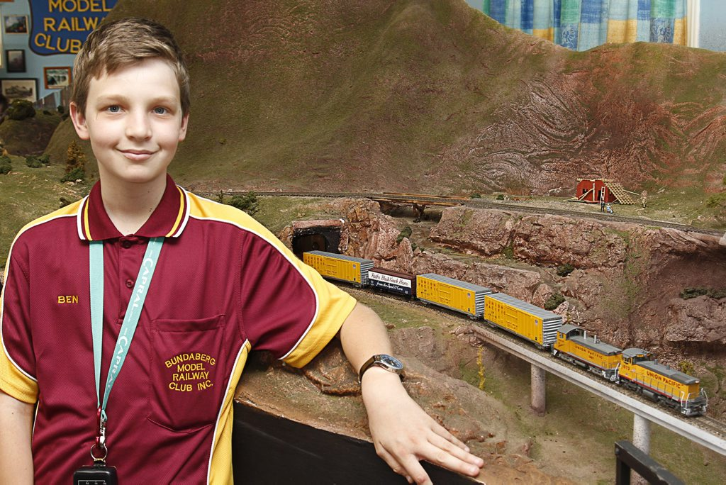 BUNDABERG MODEL RAILWAY CLUB: Benjamin Scott with his Union Pacific Switcher at the Club's Open Day.