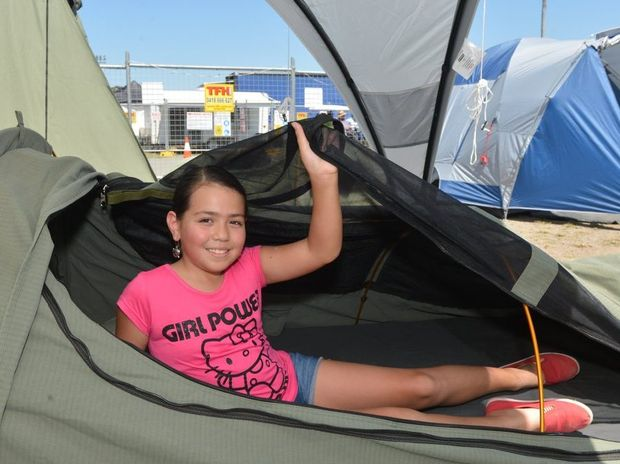 Isla Regan-Weston was looking out for camping gear, trying out a Dune Outback XL swag at the Mackay Caravan, Camping and Boating Expo. Photo Lee Constable / Daily Mercury