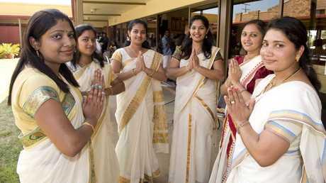 Celebrating a top performance are dancers Nidhimol Jinto, Sajani Shiju, Tintu Jenny, Jincy Bino, Soomya Mathew and Minno Jose.