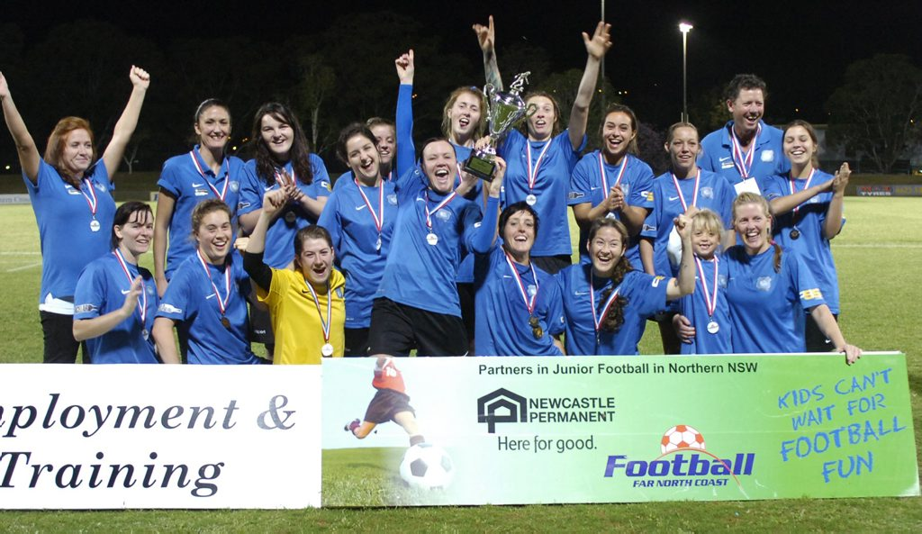 Celebration time for Bangalow Bluedogs after claiming the 2013 Football FNC women's premier division title. Photo Stuart Turner / The Northern Star
