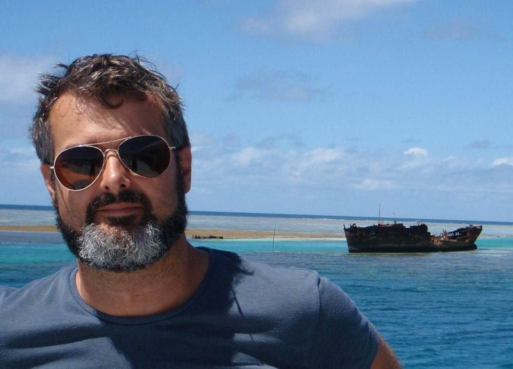 SAVING HISTORY: Dr James Hunter with the wreck of HMCS Protector.