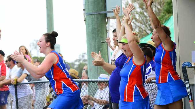 VICTORY CHEERS: Swifts Reserve grade players jump for joy after beating Norths 2-1 in Saturday's grand final.