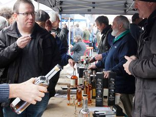 Early morning whiskey tastings at Farm Gate Markets.