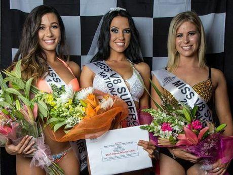 Miss V8 Supercars first runner-up Rebecca Marten, winner Teanna Born and second runner-up Sarah Kay.
