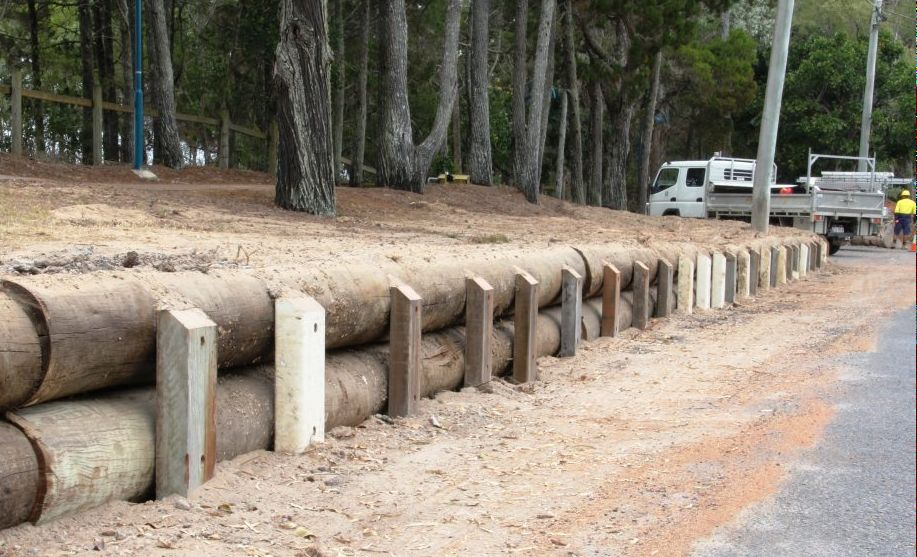 Old Urangan Pier pylons are being recycled for use in retaining walls.