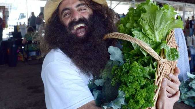 Gardening Australia host Costa Georgiadis during a visit the Rainbow Region Organic Market at the Lismore Showround.