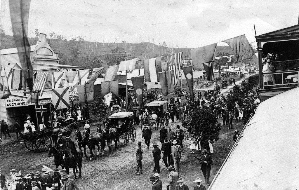 Historical photo Kyogle main street railway opening ceremony. c1910 Photo Contributed