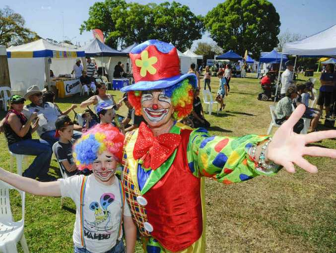 CLOWNING AROUND: Tickles and Sparkles the clown – Mali Matthews and Sue Hughes – at the Gate to Plate Festivale at Grafton Showground.