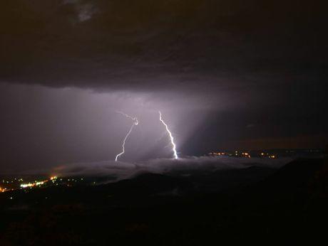 Storms sweep across the Lockyer Valley last night.