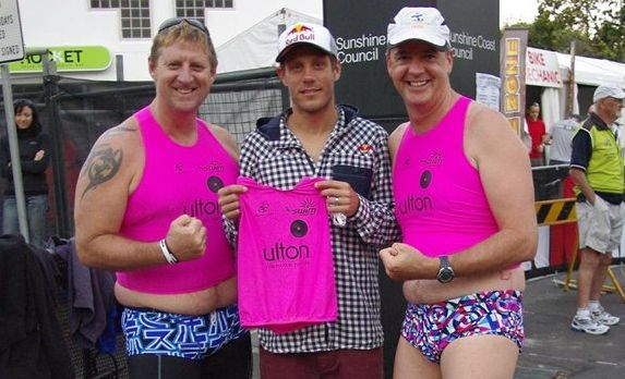 Hervey Bay's Gary Pearce and Nick Downes with dual Olympian Courtney Atkinson, middle, before the inaugural Ironman 70.3 Sunshine Coast.