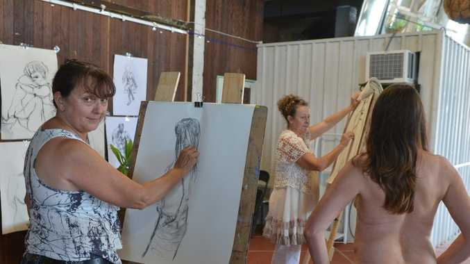 Artists Margaret Burgess and Shane Funell with model/artist Tracey Robb from Paxton's Creative Space are encouraging people to try life drawing. Photo Lee Constable / Daily Mercury