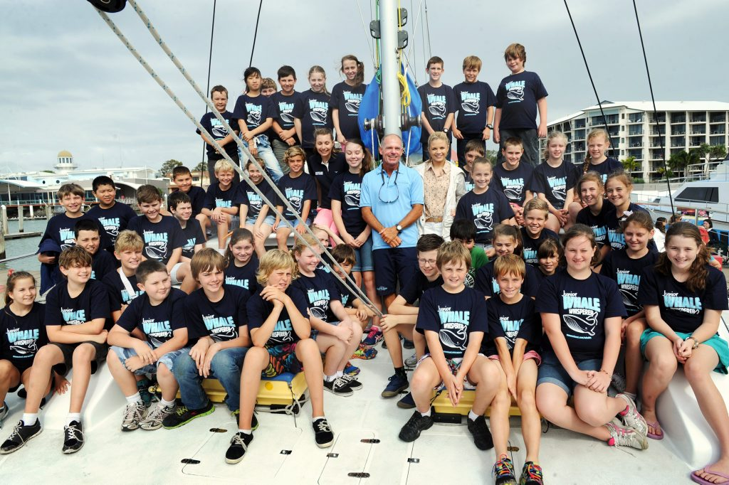 Year 6 students from Gladstone's Star of the Sea school onboard Peter Lynch's Blue Dolphin Marine Tours vessel with Today show weather presenter Emma Freedman.