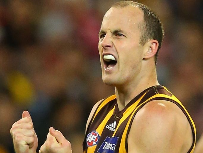 David Hale of the Hawthorn Hawks celebrates kicking a well placed goal.