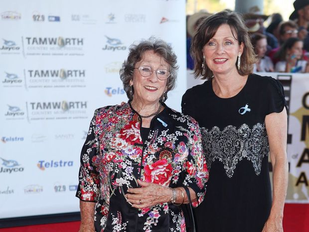 Slim Dusty's wife Joy McKean and daughter Anna Kirkpatrick on the red carpet at the 2011 Golden Guitars.