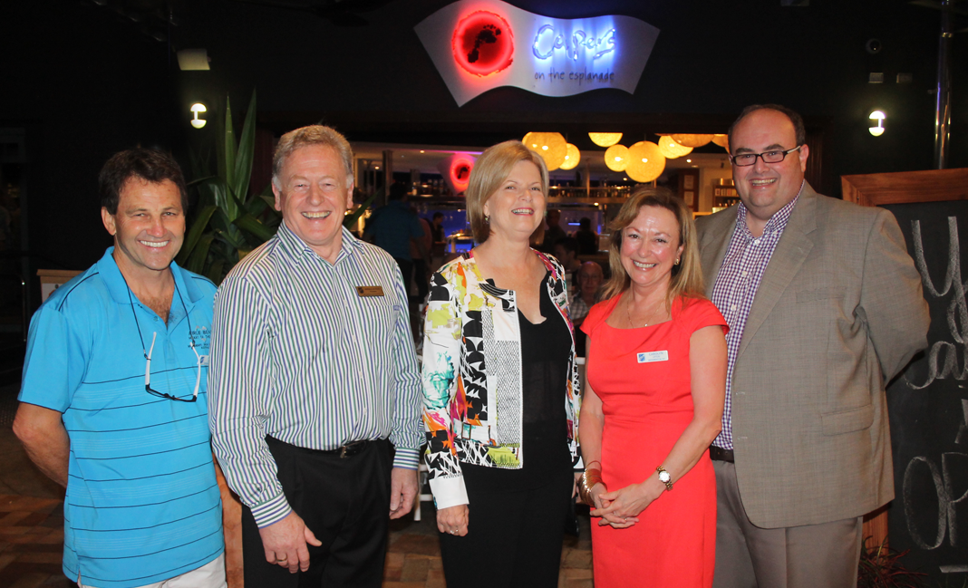 TOURISM MEET: Skal Whitsundays member Peter Upton, Skal International Australia president Russell Butler, Whitsunday Regional Council mayor Jennifer Whitney, Skal Whitsundays secretary Carolyn Upton and Whitsunday Marketing and development CEO Danial Rotchford gathered to discuss issues affecting the tourism industry on the weekend.