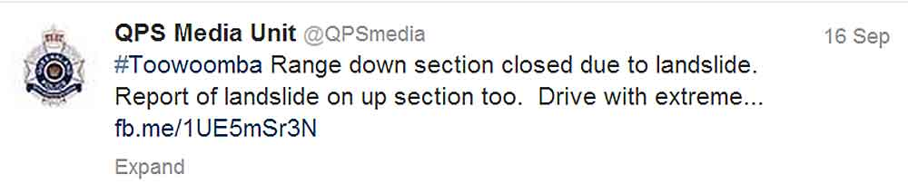 The Queensland Police Service tweet sent during Monday's heavy downpour.