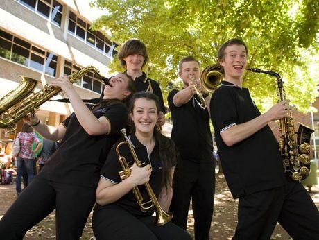 Harristown State High School students and The Ensemble band members Angus Lindsay, Jordan Symes,  Theresa Barnes, Lauren Dalamaras and Tom Keighran.