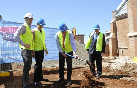 At the TRACC sod turning ceremony are Hutchinson Builders area manager Robert Weymouth, Empire Theatres general manager Kerry Saul, Mayor Paul Antonio and Empire Theatres board chairman Peter Swanell