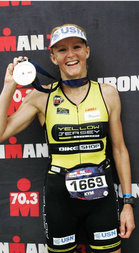 MEDAL JOY: World champion Kym Jaenke savours her latest international medal won this time in Las Vegas.