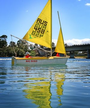 Kim Jackson sailing on her own on the Tweed River.
