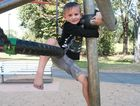Aiden Cruikshank, 5, at the Victoria Park playground Photo Rachael Conaghan / Morning Bulletin