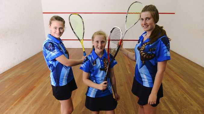 Coutts Crossing sisters Sarah, Laura and Kelly Moloney have all been selected in NSW squash teams. Photo: Adam Hourigan / Daily Examiner