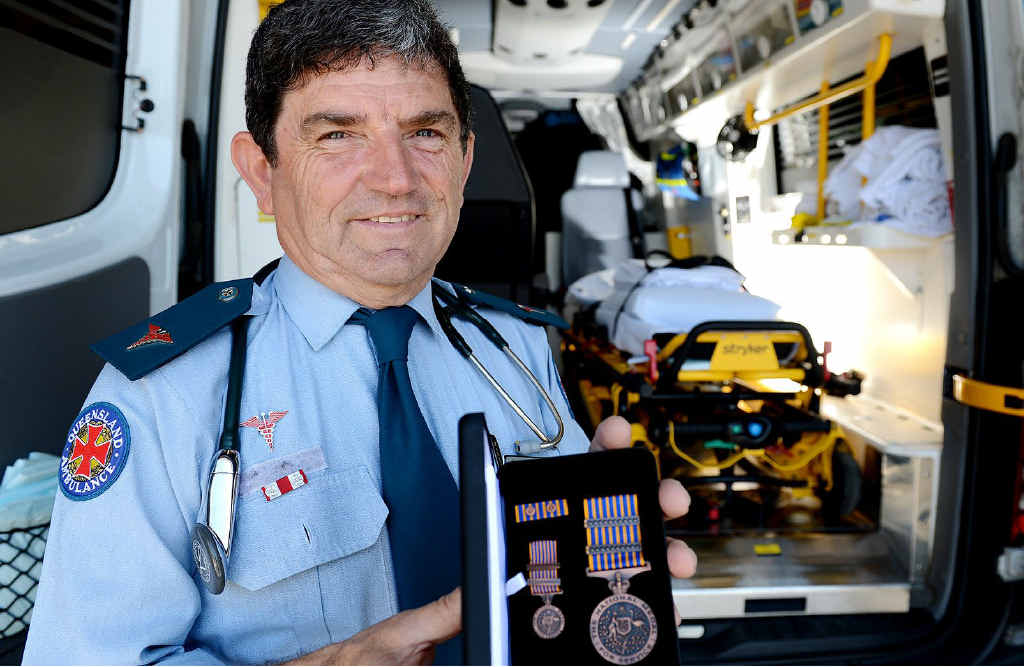 JOB WELL DONE: Paramedic John Strasser has been awarded the 35 Year National Medal for his service to the Queensland Ambulance Service.