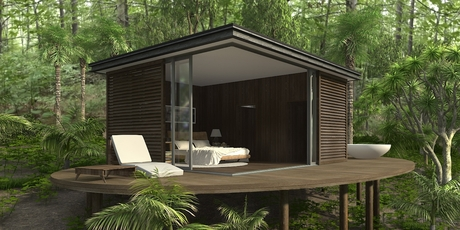 The Coolhouse is a 24sq m one-bedroom crib-style retreat, with a bathroom and kitchen. Heating uses passive gain. Artists impression.