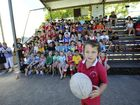 Izac McConnell, 7, at the Rebels presentation on Saturday morning at McKittrick Park. Photo JoJo Newby / The Daily Examiner