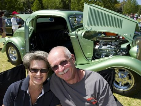 Carnival of Flowers 2013 Owners of a 1934 Ford Coupe Greg and Kay Forsyth at the Carnival Classic Cars in Queens Park, Saturday, September 21, 2013. Photo Kevin Farmer / The Chronicle