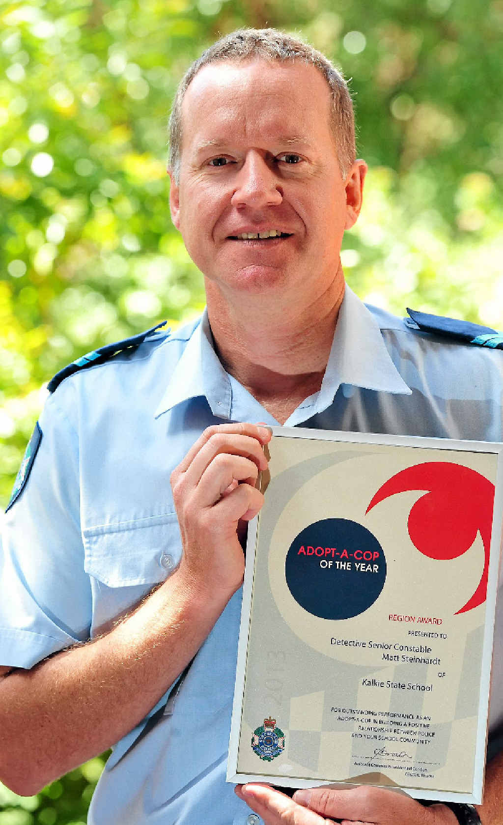 TOP COP: Senior Constable Matt Steinhardt won this year's Adopt-a-Cop award for his outstanding work at Kalkie State School.