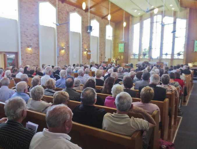 """POPULAR: Part of the large gathering at St James Anglican Church, Maclean, to farewell Sid Jones, """"a very practical, respectful, considerate, thoughtful and compassionate man""""."""
