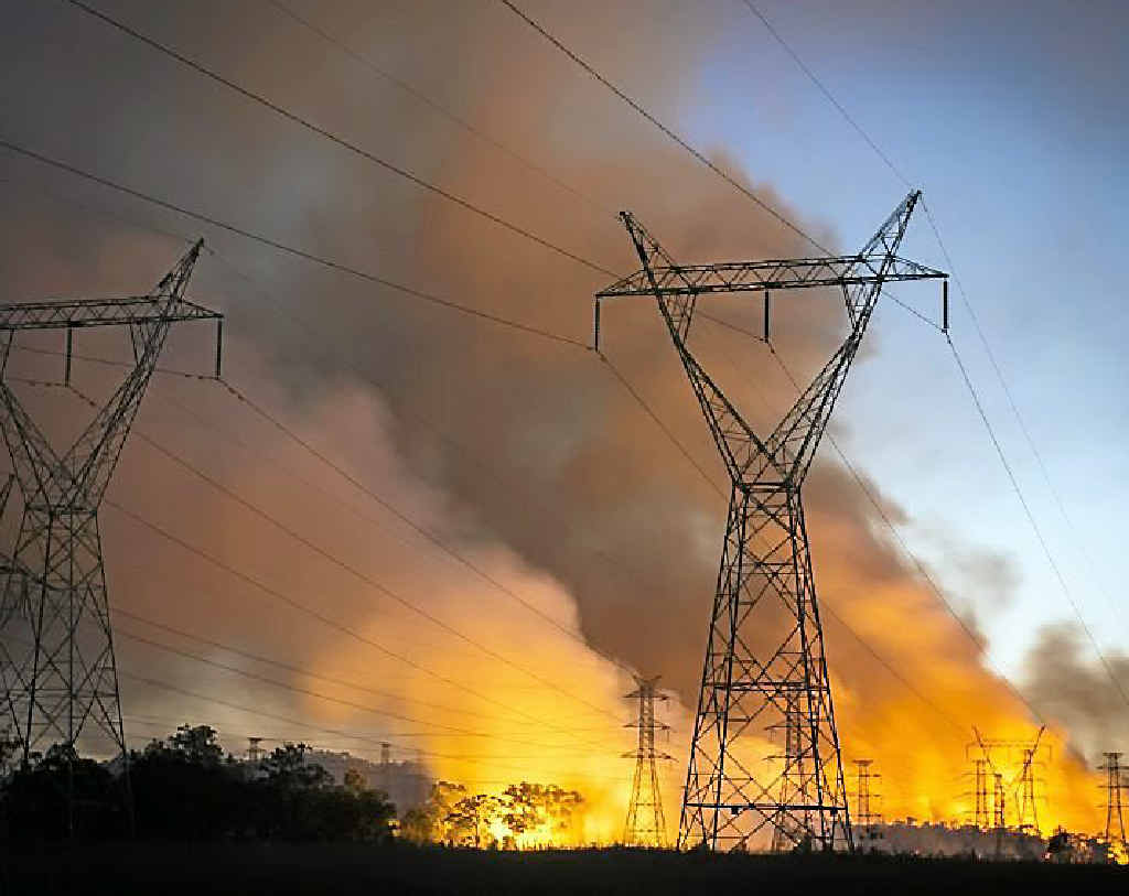 The fire on Black Harry Island, surrounding the Calliope River Substation.