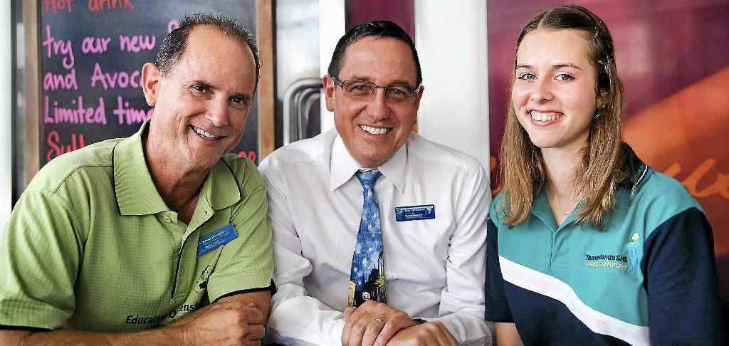 International student co-ordinator Scott Barnard, Ray Johnston and German international exchange student Lisa Michaelis, 16.
