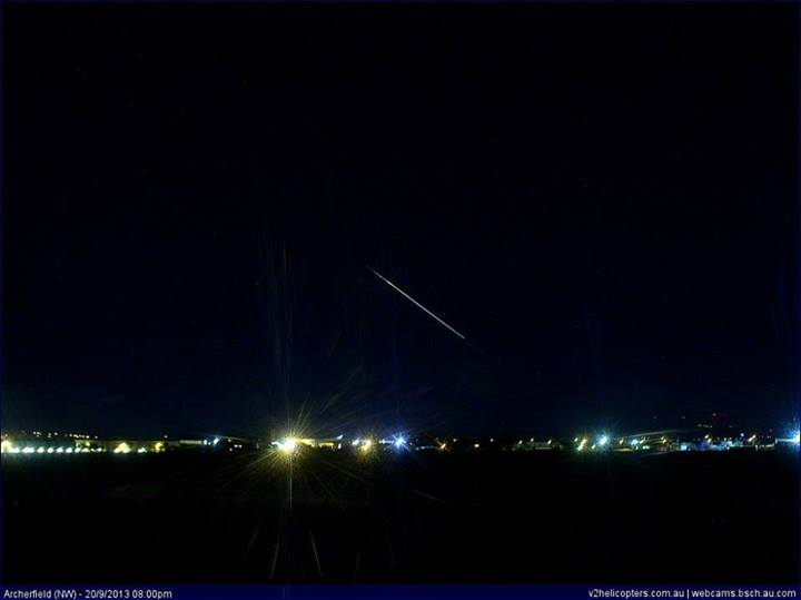 A photo of the meteor taken from a fixed camera at Archerfield. It was posted on Facebook by Higgins Storm Chasing.