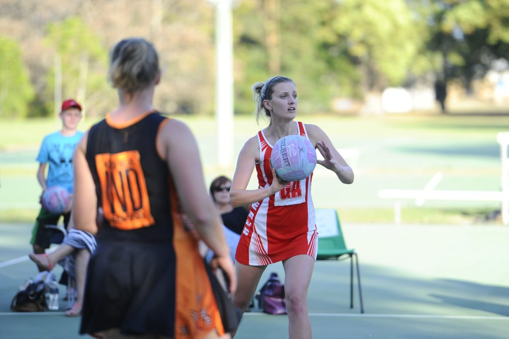 GA Stephanie Honeybrook during the A grade netball final between Tucabia and Redmen on Saturday afternoon. Photo JoJo Newby / The Daily Examiner