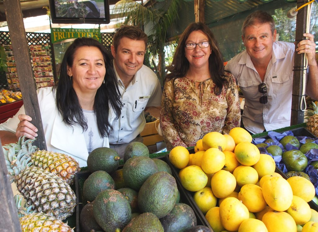 Jayne Henry from Tweed Foodie Fest; Tropical Fruit World Manager, Aymon Gow; Tweed Foodie Fest Director, Kerry Turner; and Scoot General Manager - Australia, Darren Wright check out some of the fresh Tweed produce that will be on show at Tropical Fruit World for Tweed Foodie Fest's food trail tour.