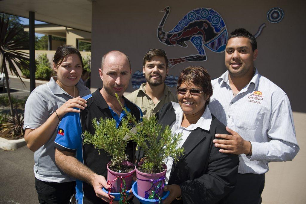 Goolburri Aboriginal Health Advancement Service staff Carmen Adams, Andrew Pearce, Trent Adams, Lizzie Adams and Nathan Gaulton.