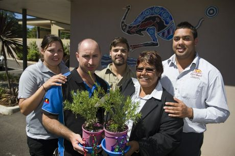 Goolburri Aboriginal Health Advancement Service staff Carmen Adams, Andrew Pearce, Trent Adams, Lizzie Adams and Nathan Gaulton.