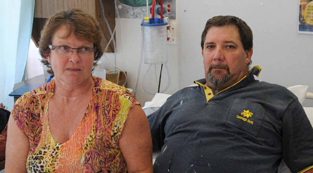 Julie and Lyle Barry at Gympie Hospital yesterday. Lyle is expected to spend at least another day in acute care, after being rushed to hospital early Sunday.