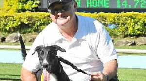 CONFIDENT: James Madigan and Sassy Dior relax after the three-year-old bitch's win at Casino on Friday. The dog is now a contender for this Friday's Casino Cup.