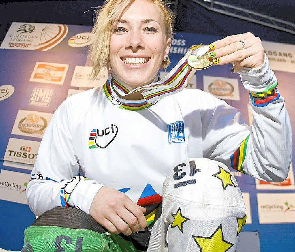 GOLDEN GIRL: Caroline Buchanan after her latest win in Austria.