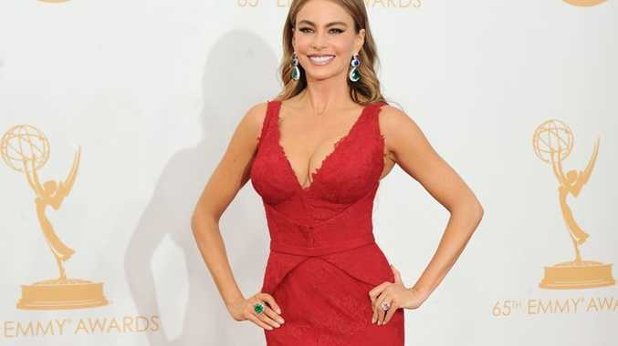 Sofia Vergara, wearing Vera Wang, arrives at the 65th Primetime Emmy Awards at Nokia Theatre in Los Angeles.
