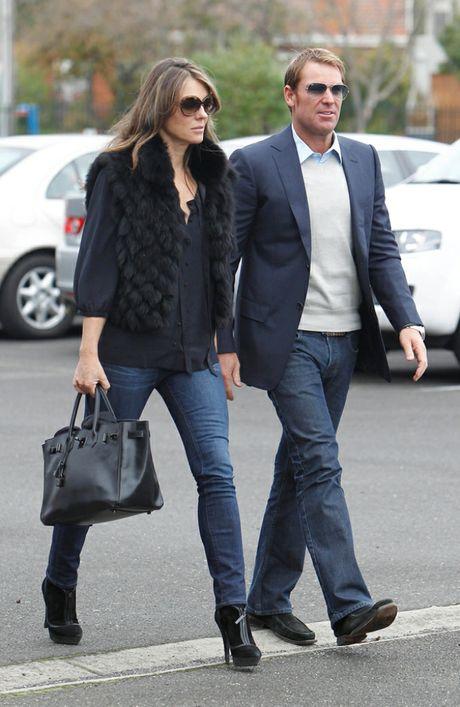 Liz Hurley and Shane Warne.