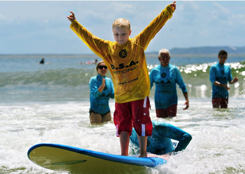 Disabled Surfing Association at Noosa Festival of Surfing. Disabled surfer Lachlan Debnam has a surf at First Point Noosa. Photo Geoff Potter/Noosa News.